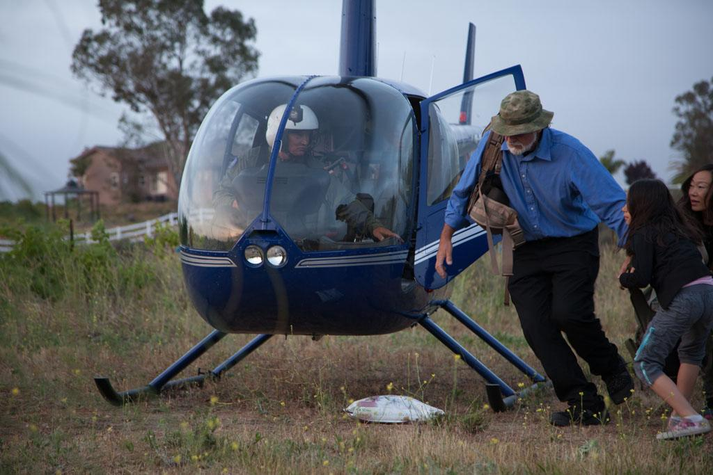 Temecula, CA - Bob Kay and his family test their new bug out vehicle; a helicopter.