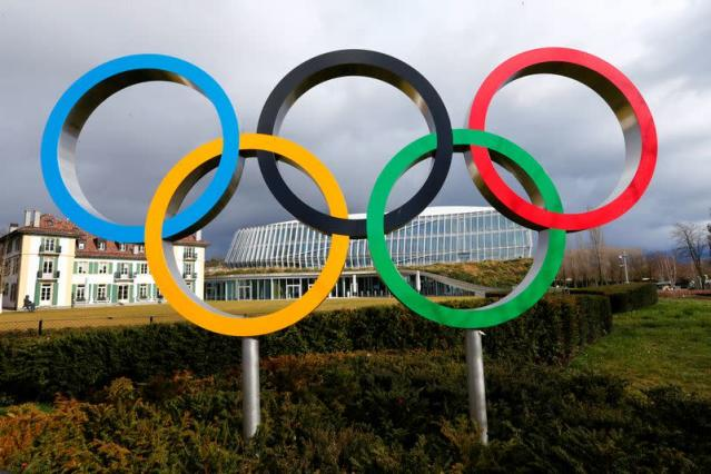 The Olympics rings are pictured in front of the IOC in Lausanne