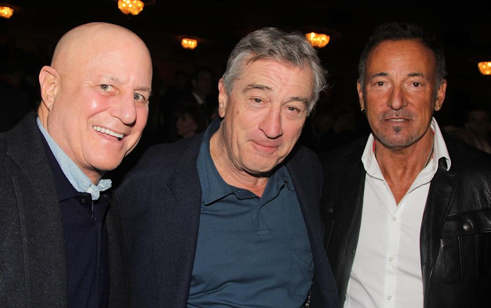 "NEW YORK, NY - OCTOBER 26: (L-R) Ron Perelman, Robert DeNiro and Bruce Springsteen pose at The Opening Night of ""The Last Ship"" on Broadway at The Neil Simon Theatre on October 26, 2014 in New York City. (Photo by Bruce Glikas/FilmMagic)"