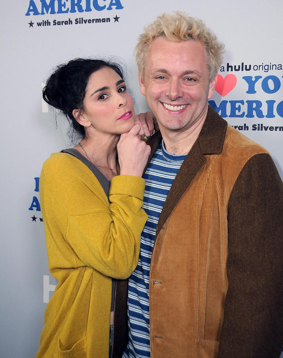 Sarah Silverman and Michael Sheen at the premiere of Hulu's <em>I Love You, America</em> last October at Chateau Marmont in Los Angeles. (Photo: Barry King/Getty Images)