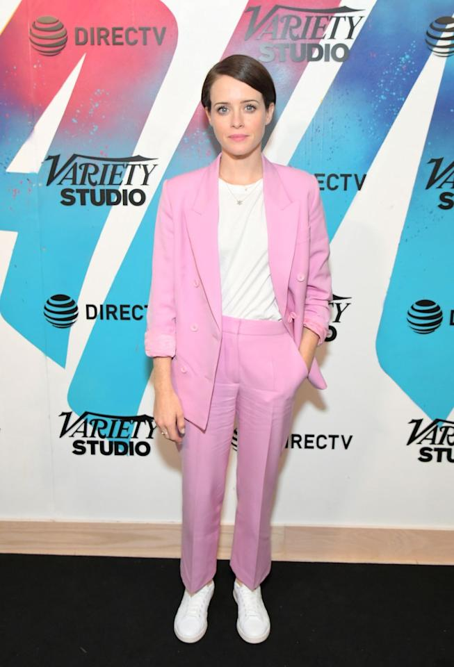 <p>Cue the <em>Miami Vice</em> theme song! This candy-colored suit on Claire Foy still makes sense in 2020, thanks to the flattering cut and pops of white. Wear it with high-top sneakers or dress it up with fancy heels.</p>