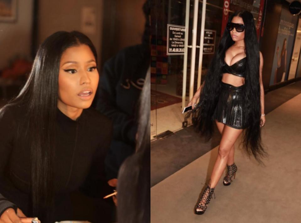 <p><b>When: March 7, 2017 </b><br>In the midst of all the hair chops, Nicki Minaj has decided to go rogue and join the hair-flipping clan! The 34-year-old rapper stunned photographers as she stepped out with ankle-grazing tresses on Tuesday. She paired the hairstyle with a black leather bralette and miniskirt by Alaïa. <i>(Photos: Instagram)</i> </p>