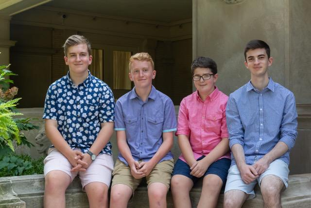 Three of the four Green boys live with a primary immune deficiency that makes them dependent of immune globulin infusions. From left: Holden, Langford, Davis, Harrison. (Photo: Sonia Green)