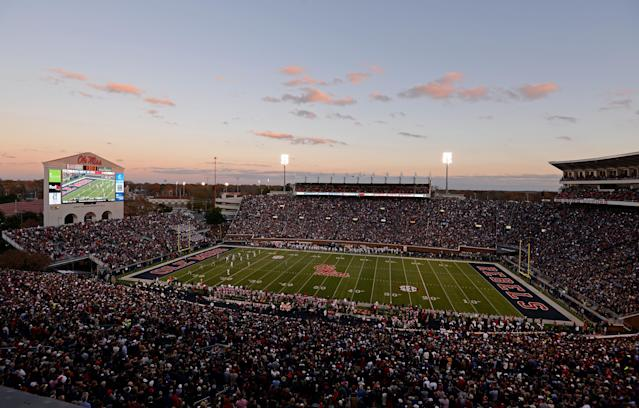 Mississippi football fans pack Vaught-Hemingway Stadium for the annual Egg Bowl game against No. 4 Mississippi State in an NCAA college football game in Oxford, Miss., Saturday, Nov. 29, 2014. No. 18 Mississippi won 31-17. (AP Photo/Thomas Graning)