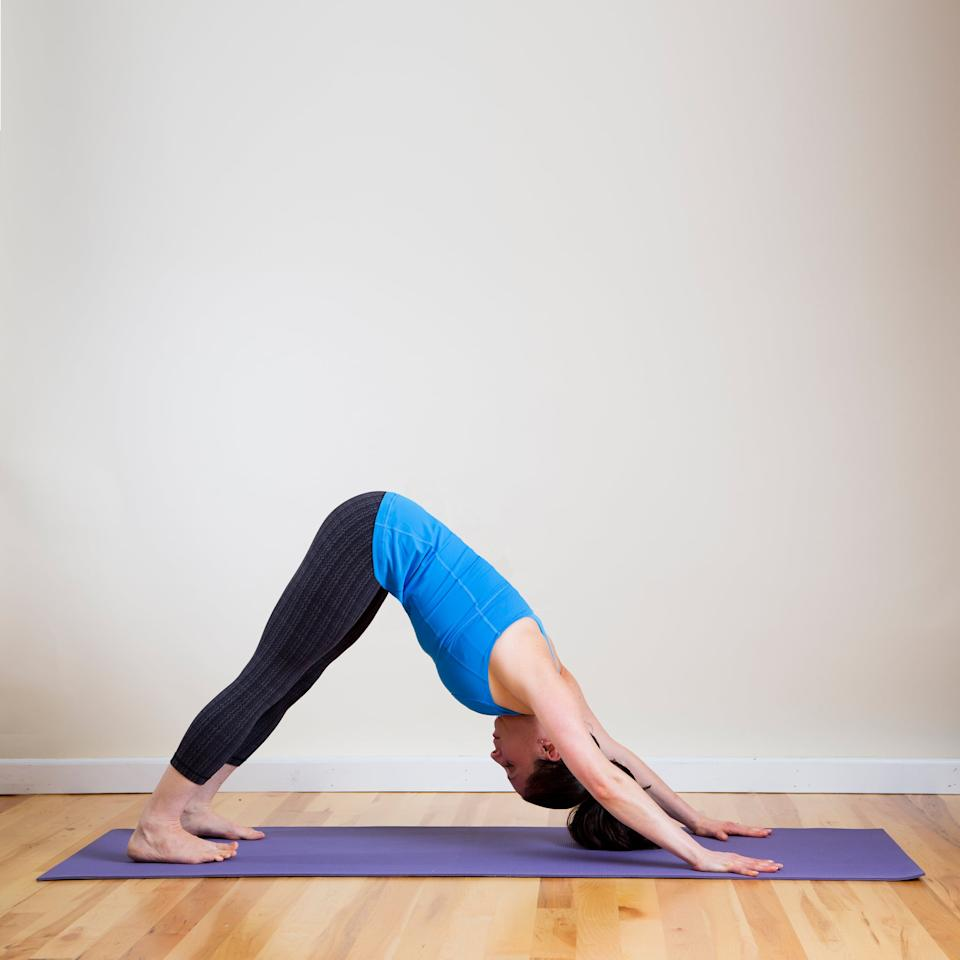 "<p>As a yoga teacher and avid runner, Downward-Facing Dog is <a href=""https://www.altyogavibe.com/"" target=""_blank"" class=""ga-track"" data-ga-category=""Related"" data-ga-label=""https://www.altyogavibe.com/"" data-ga-action=""In-Line Links"">Val Minos</a>'s go-to pose. ""It provides length and flexibility in the back of the legs and through the spine,"" she said, while relieving tension between your shoulder blades. It's also an inversion, which Val said helps to clear and energize her mind and body.</p> <ul> <li>Come onto your hands and knees with your wrists underneath your shoulders and your knees underneath your hips.</li> <li>Inhale as you tuck your toes under your heels. Then exhale to lift your hips, coming into the classic upside-down ""V"" shape called Downward-Facing Dog.</li> <li>Spread your fingers wide and create a straight line between your middle fingers and elbows. Work on straightening your legs and lowering your heels toward the ground. Relax your head between your arms, and direct your gaze through your legs or up toward your belly button. </li> <li>Hold for 30 seconds.</li> </ul>"