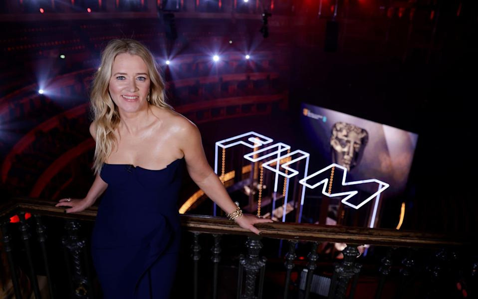 Edith Bowman, with the huge lettering behind her that made it seem as if guests were in a room full of lightsabers - Reuters