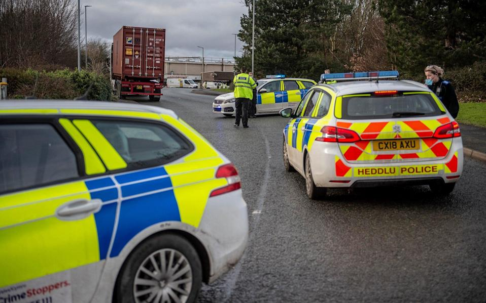 Police block Wrexham Industrial Estate where the Wockhardt factory is located - View Finder Pictures/Andrew Price