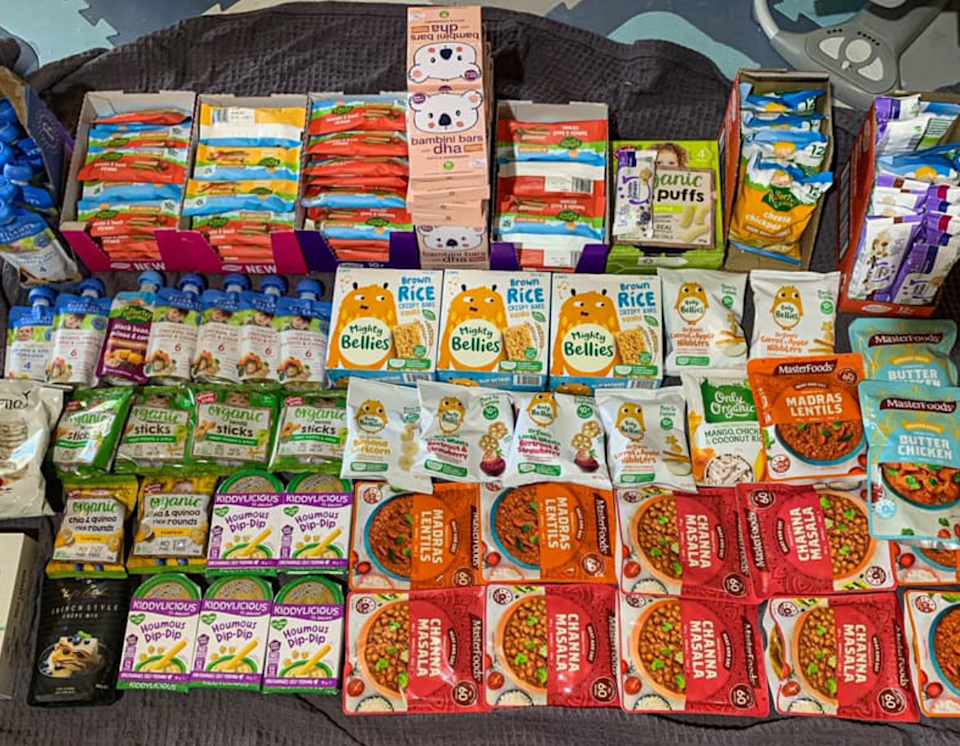 A photo shows a Coles shopper's 176-item haul where most of them were 20 or 50 cents.