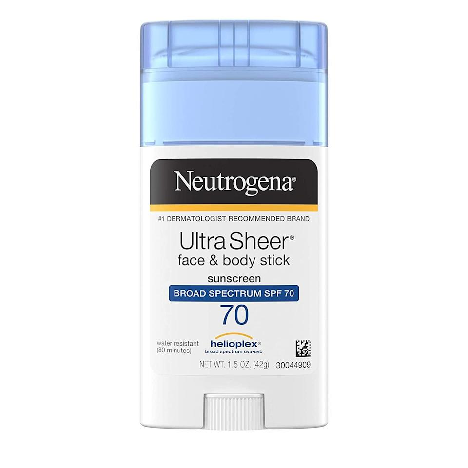 <p>The nongreasy, nonsticky <span>Neutrogena Ultra Sheer Non-Greasy Sunscreen Stick For Face &amp; Body SPF 70</span> ($8) practically glides onto the body, leaving you with a lightweight, protective shield that lasts up to 80 minutes in water and won't clog your pores.</p>