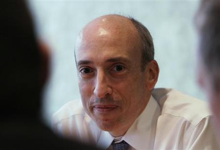 Gary Gensler, chairman of the Commodity Futures Trading Commission (CFTC), listens during an interview with Reuters in London