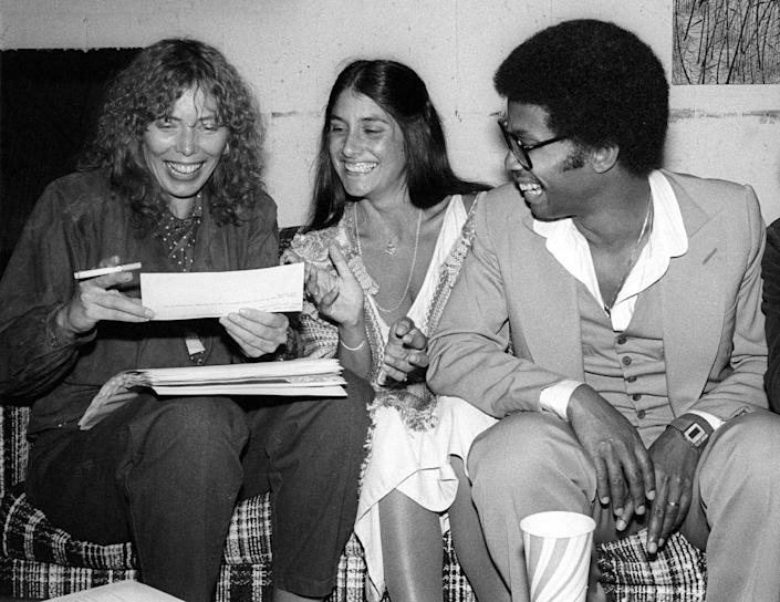 <p>Joni Mitchell, Mimi Farina and Herbie Hancock enjoy a moment backstage at the Berkeley Jazz Festival, which was held at the Greek Theatre in May 1979 in Berkeley, California.</p>
