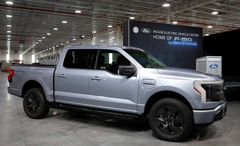 A Ford Motors pre-production all-electric F-150 Lightning truck prototype is seen at the Rouge Electric Vehicle Center in the Rouge Complex in Dearborn, Michigan, U.S. September 16, 2021   REUTERS/Rebecca Cook