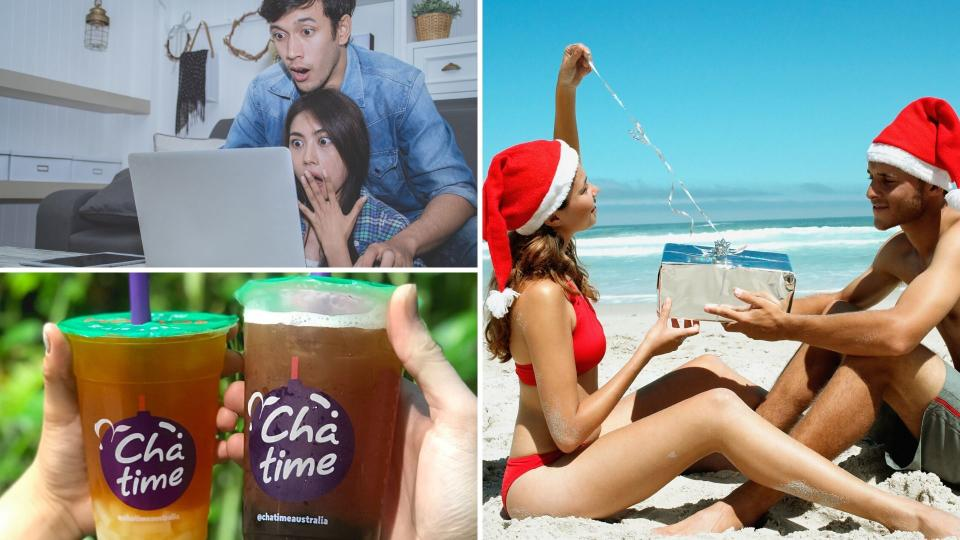 A shocked couple looking at computer, a couple opening presents on a beach and Chatime bubble tea.
