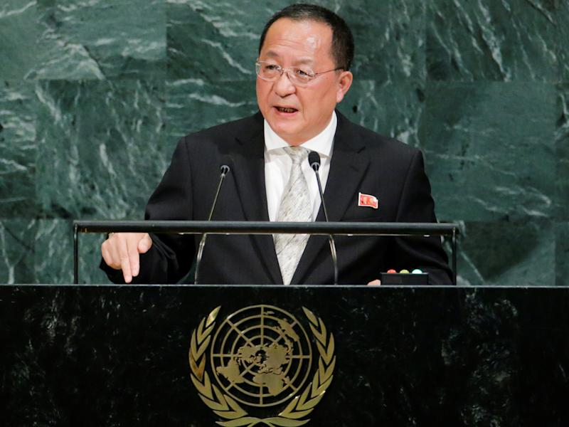North Korean Foreign Minister Ri Yong-ho addresses the 72nd United Nations General Assembly at UN headquarters in New York: REUTERS