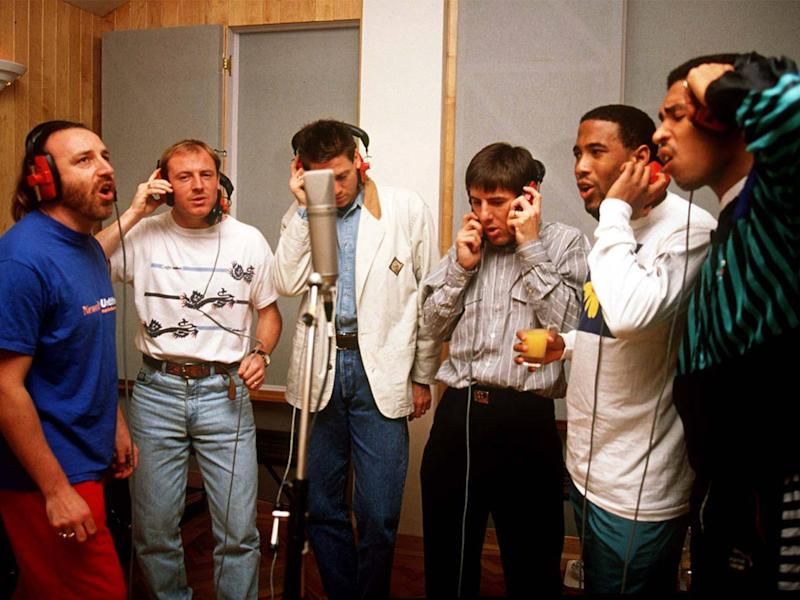 The English football team recording 'World in Motion' (Reuters)