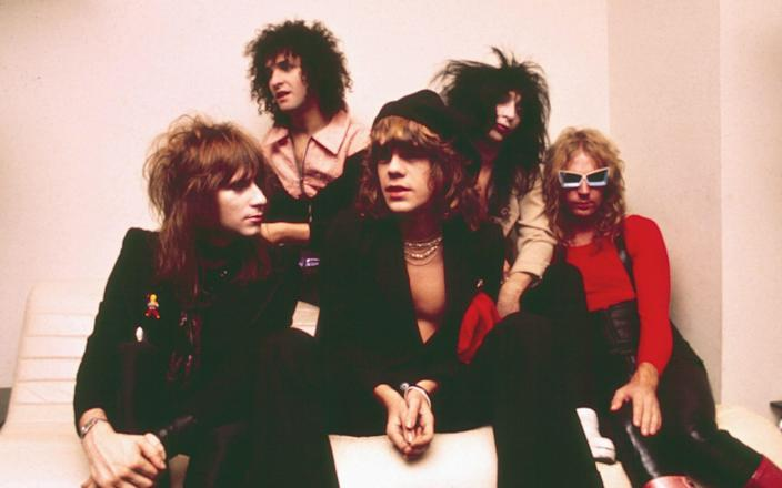 The New York Dolls in 1974, l-r: Jerry Nolan, Sylvain Sylvain, David Johansen, Johnny Thunders and Arthur 'Killer' Kane - Chris Walter/WireImage