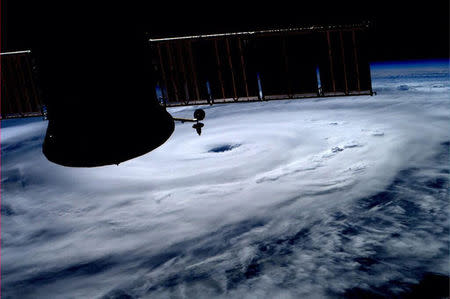 The eye of Hurricane Arthur is seen in this photo from the International Space Station tweeted by astronaut Alexander Gerst