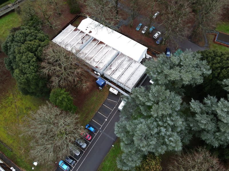 A temporary mortuary is seen in the grounds of a former RAF rehabilitation hospital at Headley Court in Epsom