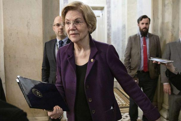 PHOTO: WASHINGTON, DC - JANUARY 29: Sen. Elizabeth Warren (D-MA) leaves the U.S. Capitol after the Senate impeachment trial of President Donald Trump was adjourned for the day on January 29, 2020 in Washington, DC. (Samuel Corum/Getty Images)