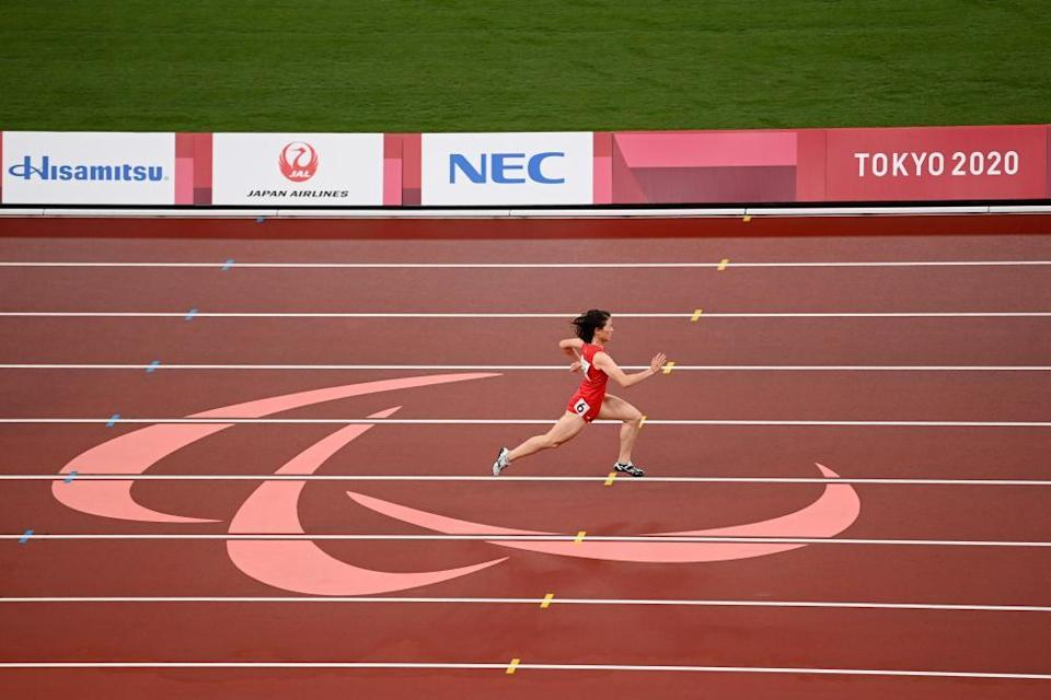 Yiting Shi of China all alone out front in her T36 100m final.