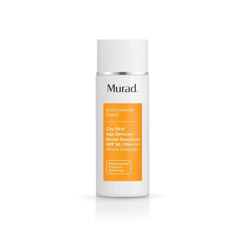 """<p>Murad's City Skin Age Defense Broad Spectrum SPF 50 absorbs into skin without leaving any trace of a greasy or chalky residue. Makeup lays smoothly on top (no pilling or creasing) and stays put throughout the day. The lotion has a slight caramel-hued tint, which left our tester with a smooth, glowing complexion.</p> <p><strong>$65</strong> (<a href=""""http://www.anrdoezrs.net/links/8984085/type/dlg/sid/alluremoisturizerswithspf/https://www.murad.com/product/city-skin-age-defense-spf-50/"""" rel=""""nofollow noopener"""" target=""""_blank"""" data-ylk=""""slk:Shop Now"""" class=""""link rapid-noclick-resp"""">Shop Now</a>)</p>"""