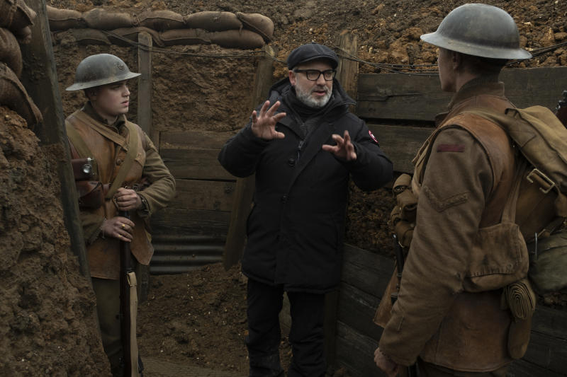 Sam Mendes in the trenches on the set of '1917.' | François Duhamel—© 2019 Universal Pictures and Storyteller Distribution Co., LLC. All Rights Reserved.