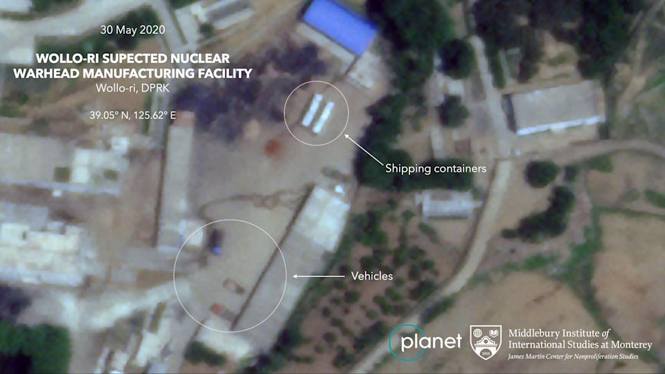 Shipping containers and vehicles suggest items are being moved from the facility. Source: Middlebury Institute of International Studies/ Planet Labs