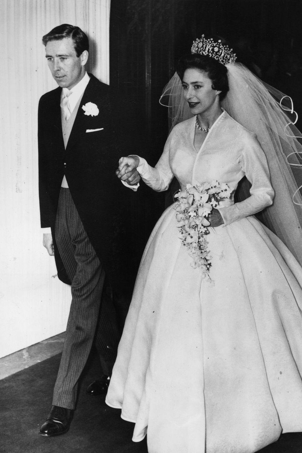 <p>Princess Margaret met photographer Antony Armstrong-Jones in 1958 at a dinner party, and the two began a secret love affair after he was commissioned to photograph her a few months after their first meeting. The two were married on May 6, 1960 at Westminster Abbey, despite the controversy around his not being of royal or aristocratic status.</p>