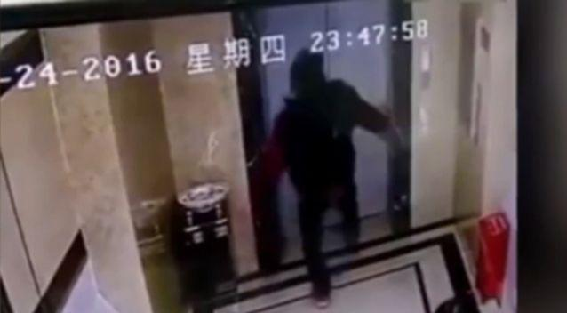 The man decided to try and kick the lift doors open. Photo Supplied & Man gets angry waiting for lift kicks doors in and falls into shaft