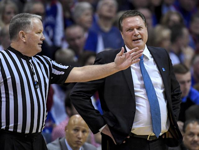 "LAWRENCE, KS – FEBRUARY 04: Head coach Bill Self of the <a class=""link rapid-noclick-resp"" href=""/ncaab/teams/kaa/"" data-ylk=""slk:Kansas Jayhawks"">Kansas Jayhawks</a> discusses a call with a referee on February 4, 2017 at Allen Field House in Lawrence, Kansas. (Photo by Reed Hoffmann/Getty Images)"