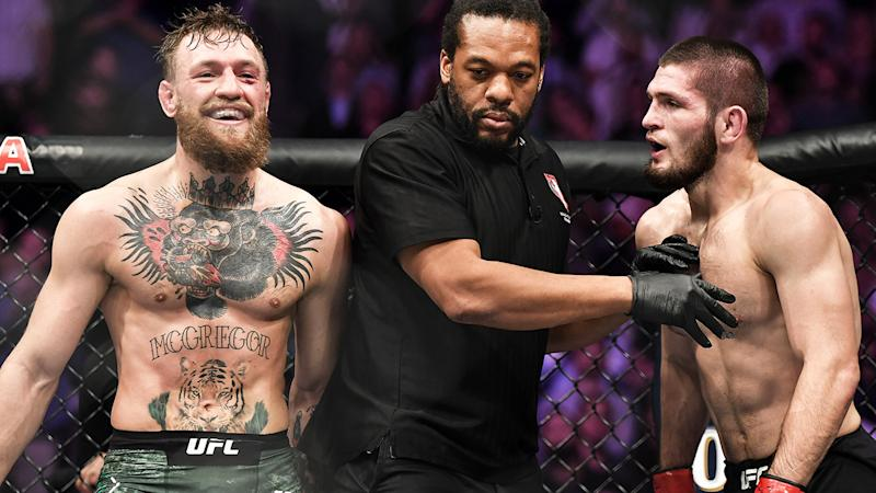 Conor McGregor and Khabib Nurmagomedov, pictured here at UFC 229 in 2018.