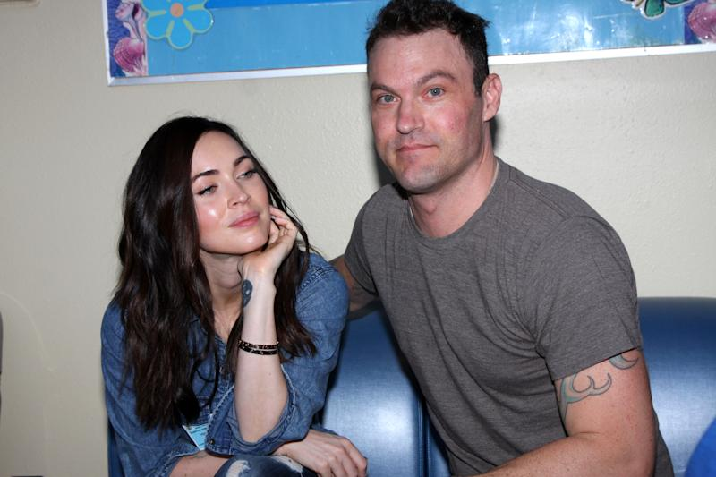 "TORRANCE, CA - SEPTEMBER 16: Megan Fox, Brian Austin Green at the ""Stars 4 Smiles"" visiting children at hospital at Harbor-UCLA Medical Center in Torrance, CA on September 16, 2014. Credit: David Edwards/DailyCeleb/MediaPunch/IPX"
