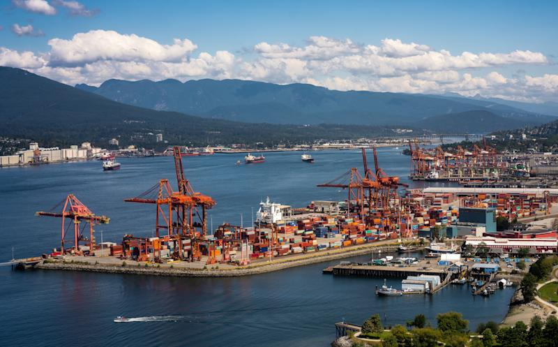 The Port of Vancouver lies along the Burrard Inlet in this aerial stock photo. Capital Economics says Canada's trade deficit will widen as the demand for Canadian exports dries up. (Photo: limpers via Getty Images)