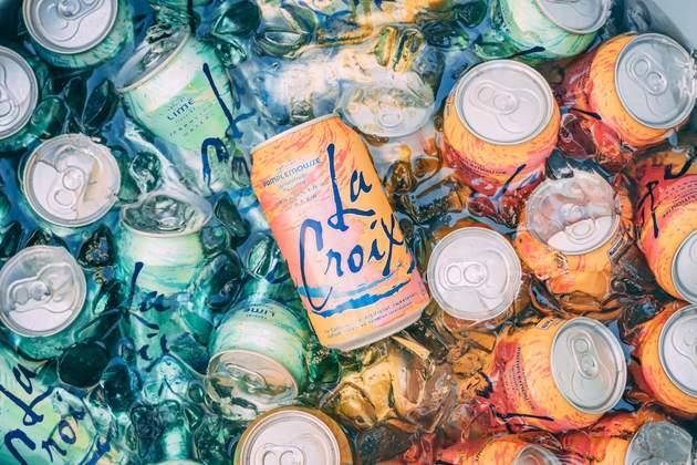 Twenty or so cans of La Croix in an ice-water bath