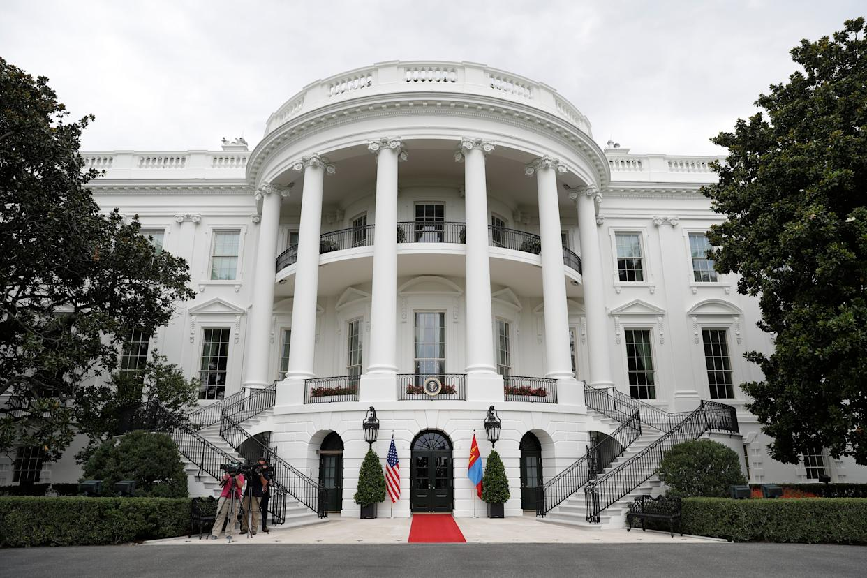 The South Portico is prepared for President Donald Trump to greet Mongolian President Khaltmaa Battulga on the South Lawn of the White House, Wednesday, July 31, 2019, in Washington.