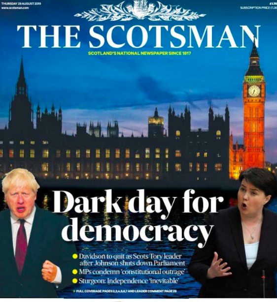"""The Scotsman also led with a """"dark day for democracy"""" and wrote of Scot Tory leader Ruth Davidson quitting. (Twitter)"""