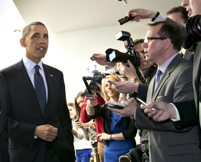 <p> President Barack Obama turns to reporters as he leaves Capitol Hill in Washington, Wednesday, March 13, 2013, after his closed-door meeting with House Speaker John Boehner and Republican lawmakers to discuss the budget. (AP Photo/J. Scott Applewhite) </p>