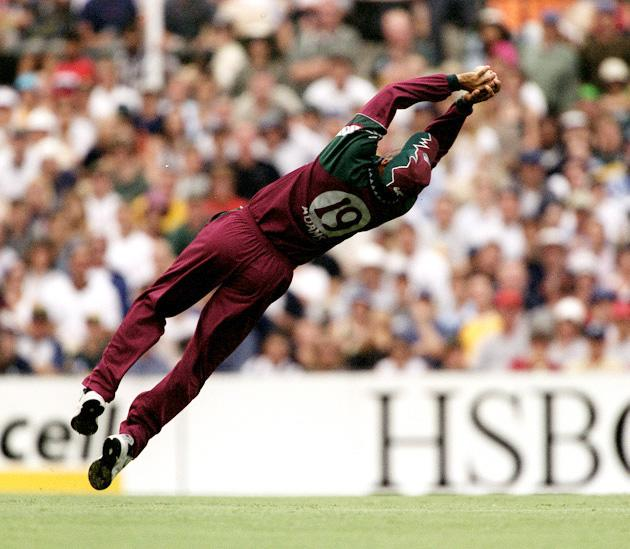 West Indies captain Jimmy Adams takes a spectacular catch to dismiss Ricky Ponting of Australia for 93 off the bowling of Nixon McLean during the Carlton Series One Day International between Australia and West Indies at the Sydney Cricket Ground, Sydney, Australia. Mandatory Credit: Matt Turner/ALLSPORT