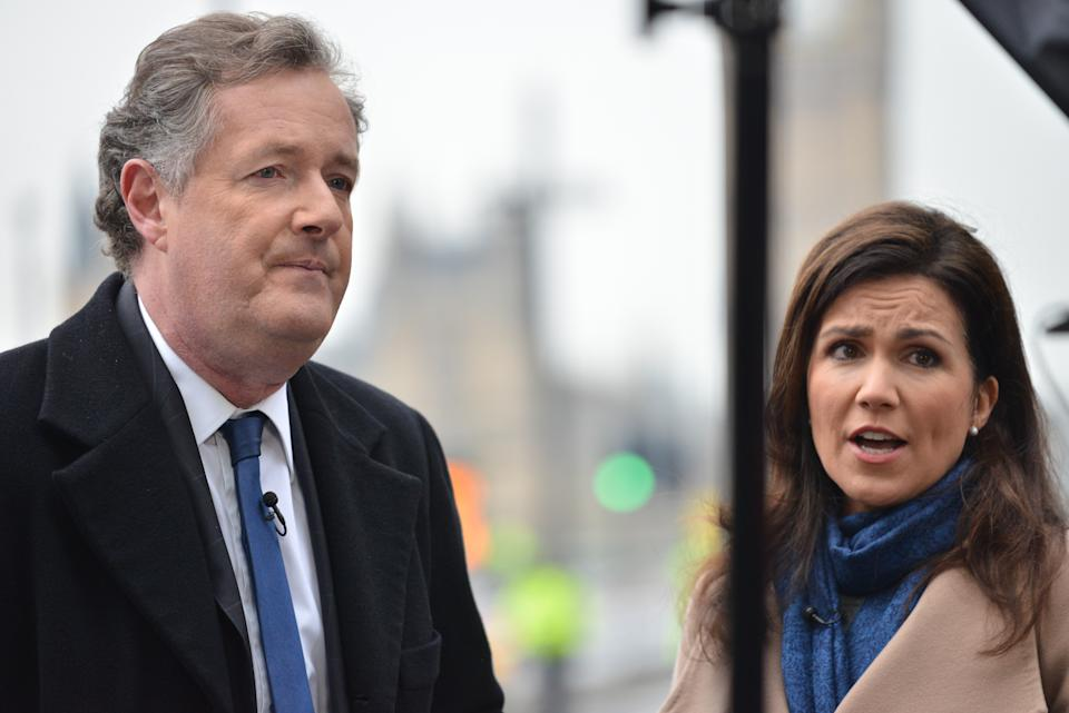 LONDON, UNITED KINGDOM - MARCH 23: Susanna Reid and Piers Morgan seen at Westminster Bridge a day after the terror attack on March 23, 2017 in London, England.  Central London was plunged into chaos as a driver ran down pedestrians on Westminster Bridge before entering the grounds of the Houses of Parliament and stabbing a policeman to death.  PHOTOGRAPH BY Matthew Chattle / Barcroft Images  London-T:+44 207 033 1031 E:hello@barcroftmedia.com - New York-T:+1 212 796 2458 E:hello@barcroftusa.com - New Delhi-T:+91 11 4053 2429 E:hello@barcroftindia.com www.barcroftimages.com (Photo credit should read Matthew Chattle/Barcroft Media via Getty Images / Barcroft Media via Getty Images)