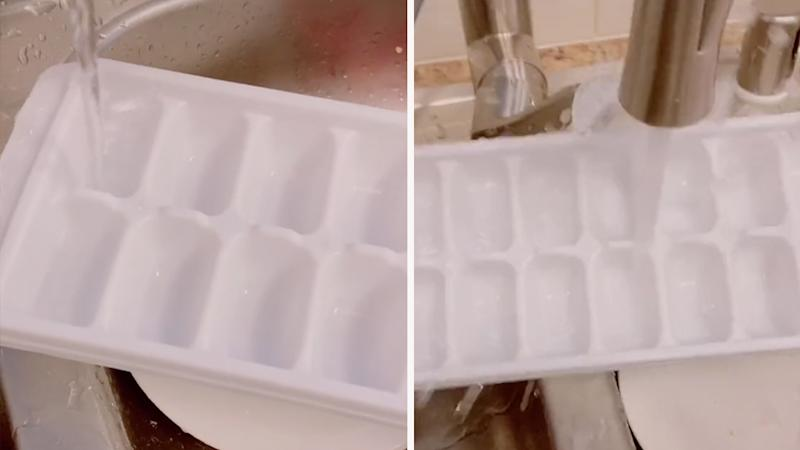 How to fill an ice cube tray with water