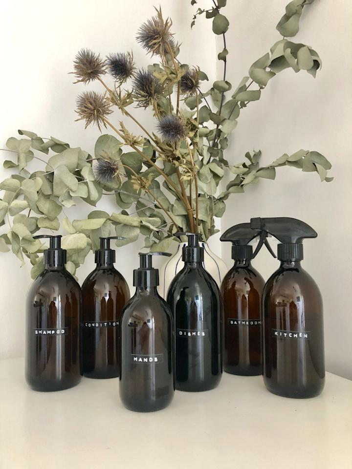 "<p>You can choose whether these stylish bottles come with a trigger spray or a pump and you can also personalise the label on them. They are a perfect replacement for plastic bottles: cleaning sprays, shampoo and conditioner, hand wash, washing-up liquid etc.  They can be refilled at local refill stations. We suggest Ecover refills for cleaning products (<a href=""https://www.ecover.com/store-locator/"" target=""_blank"">list of stockists here</a>) and Faith in Nature for personal hygiene (<a href=""https://www.faithinnature.co.uk/article/faith-in-nature-refill-stations.aspx"" target=""_blank"">list here</a>). </p><p><a class=""body-btn-link"" href=""https://go.redirectingat.com?id=127X1599956&url=https%3A%2F%2Fwww.etsy.com%2Fuk%2Flisting%2F501282964%2Famber-brown-glass-bottle-with-trigger%3Fref%3Dreviews&sref=https%3A%2F%2Fwww.housebeautiful.com%2Fuk%2Flifestyle%2Fcleaning%2Fg29430451%2Fplastic-free-kitchen-cleaning-laundry-home-products%2F"" target=""_blank"">BUY NOW, from £8, ETSY</a></p>"