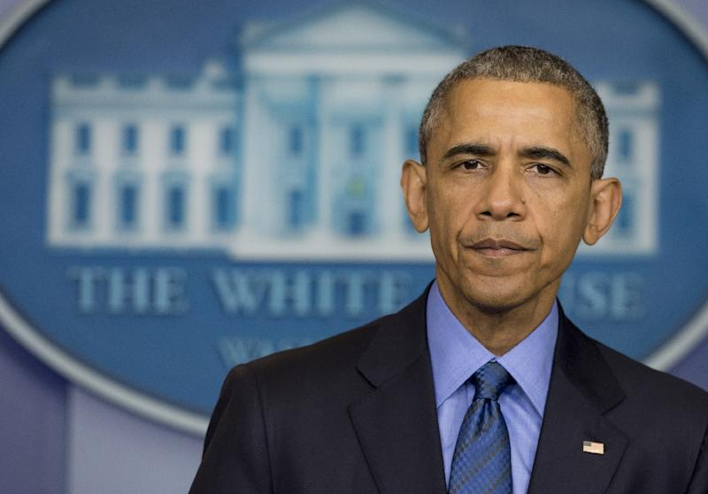 US President Barack Obama speaks about the shooting deaths of nine people at a historic black church in Charleston, South Carolina, from the Brady Press Briefing Room of the White House in Washington, DC, June 18, 2015