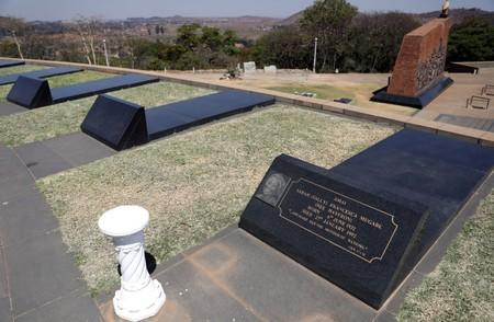 "Grave of Sarah Francesca ""Sally"" Mugabe, the first wife of Robert Mugabe is seen next to two un-occupied graves at the National Heroes Acre in Harare"