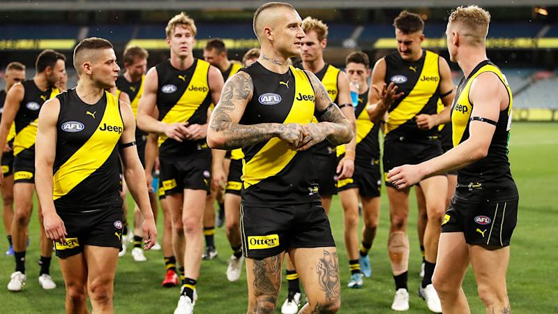 Richmond players, pictured here in action during the opening round of the AFL season.