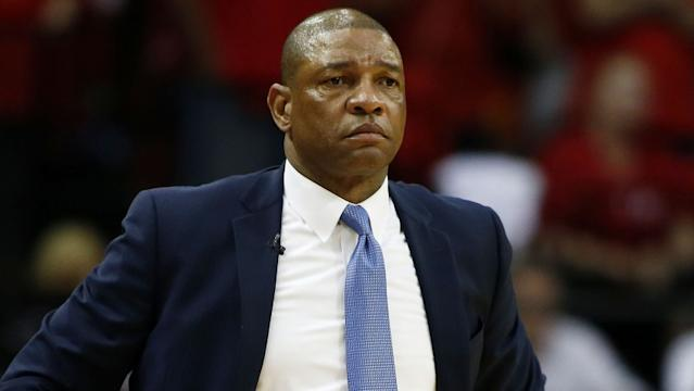 """In a statement released Sunday, Clippers coach Doc Rivers said the response to George Floyd's death has been """"decades in the making."""" <span class=""""copyright"""">(Scott Halleran / Getty Images)</span>"""