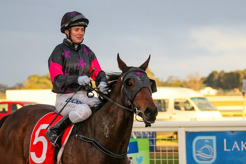 Mikaela Claridge after winning the Gippsland Funeral Services BM64 Handicap on board Sir Mask at Sale Racecourse in Victoria in July.