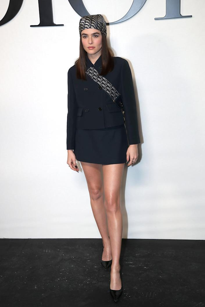 <p>Zoey dressed in a chic head-to-toe Dior look for the show at Paris Fashion Week. </p>