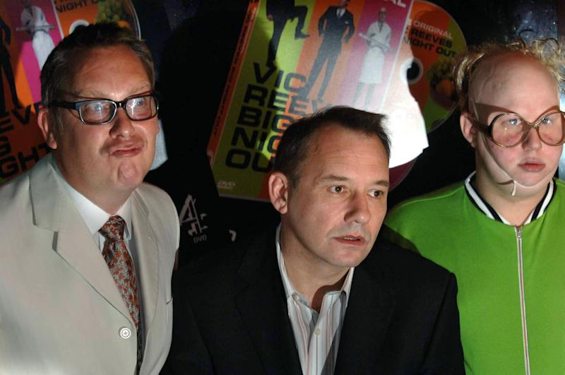 Vic Reeves (L), Bob Mortimer and Matt Lucas (R) at the photocall for the release of the new DVD 'Vic Reeves Big Night Out' at Too2Much Club, central London, Friday 9 September 2005. PRESS ASSOCIATION Photo. Photo credit should read: Steve Parsons/PA (Photo by Steve Parsons - PA Images/PA Images via Getty Images)