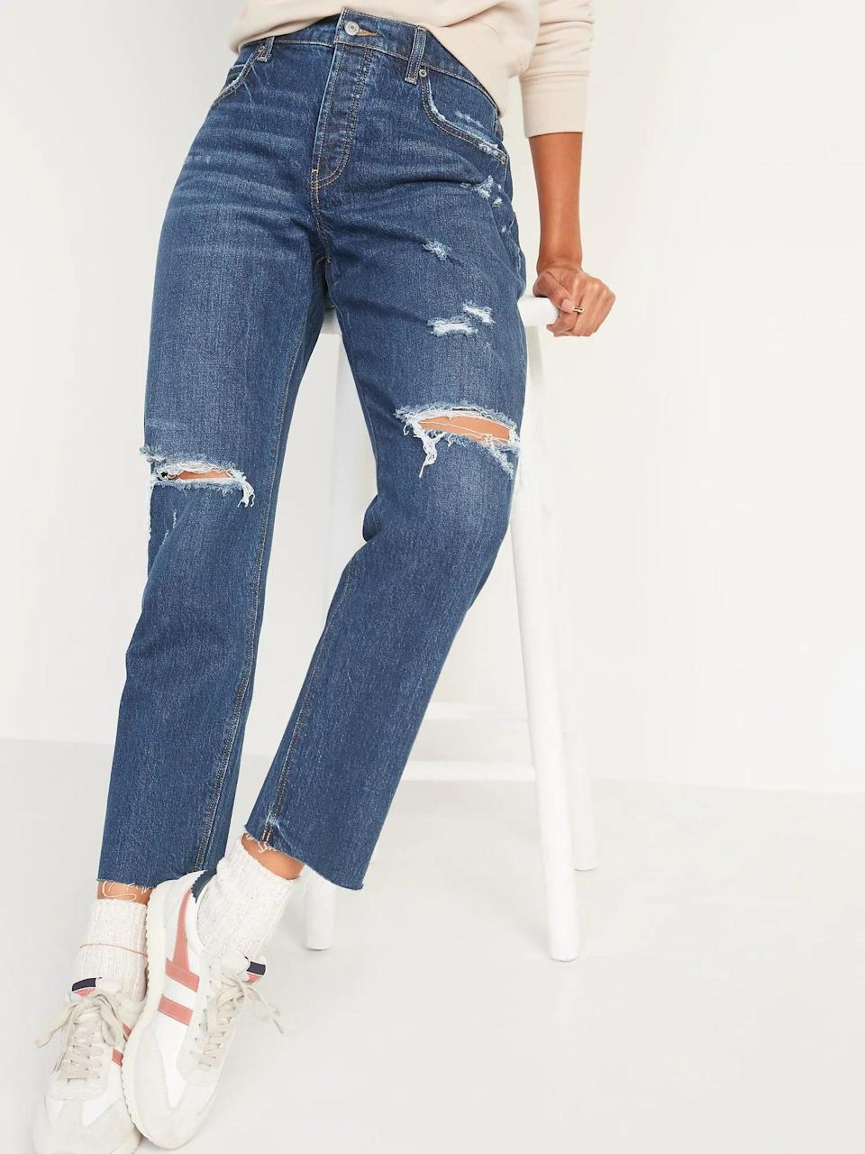 <p>These loose <span>Old Navy High-Waisted Button-Fly Slouchy Straight Ripped Cut-Off Jeans</span> ($48, originally $50) are comfy enough to wear several times a week but they already look perfectly lived-in straight from the bag.</p>