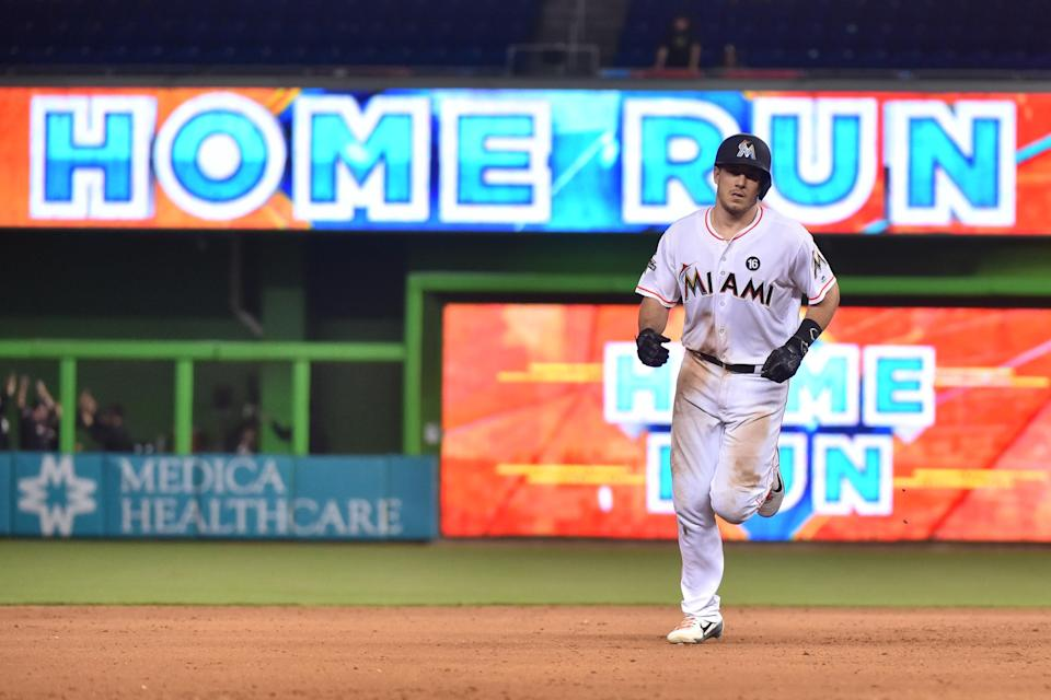 J.T. Realmuto of the Miami Marlins rounds second base after hitting a walk-off home run in the 10th inning against the New York Mets on Tuesday. (Getty Images)
